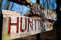 A beat up sign along the Hampton Township Nature Trail Tuesday, April 30.