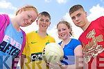 ON THE BALL: Having fun at the first ever Ogras summer camp at Castleisland Community College last Thursday were, l-r: Sorcha Ni? Chonchu?ir, Daithi? O? Donnchu?, Charlene Ni? Chonchu?ir, Pa?draig O? Fuara?in.