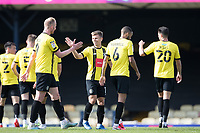 Mark Beck, Harrogate Town,  congratulates Lloyd Kerry, Harrogate Town,  following his goal during Southend United vs Harrogate Town, Sky Bet EFL League 2 Football at Roots Hall on 12th September 2020