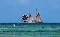 MUS, Mauritius, Hotel Le Cannonier: Zweimastschoner Isla Mauritia | MUS, Mauritius, Hotel Le Cannonier: Isla Mauritia, sailing ship