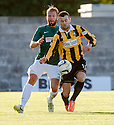 East Fife's Kevin Smith holds off Hibs' Jordan Forster.