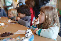 NWA Democrat-Gazette/DAVID GOTTSCHALK Wednesday, January 10, 2018,  marshmallow and pretzel snowman during the craft portion of the Little Sprouts Off-Season Winter Wonderland program at the Botanical Garden of the Ozarks in Fayetteville. The off-season program is held on the second Wednesday of the month through April 11. Whole Foods Market, as part of their Community Giving Program, is supplying the ingredient materials for projects in snacks during the Little Sprouts 2018 season.