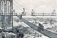 New York:  Brooklyn Bridge, The Footpath, 1877. A view of the footpath leading up to the Brooklyn Tower of the Bridge.  HARPER'S WEEKLY, Mar. 31, 1977.