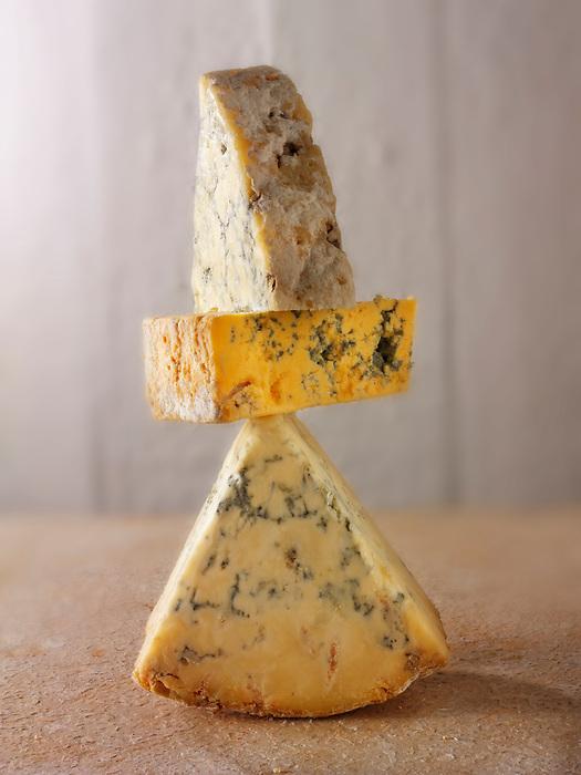 Blue and white stilton and Creamy Blacksticks cheese photos