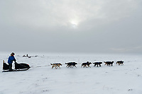Martin Buser nears the Unalakleet checkpoint on Monday evening March 11th during the 2019 Iditarod Trail Sled Dog Race.<br /> <br /> Photo by Jeff Schultz/  (C) 2019  ALL RIGHTS RESERVED