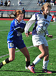 (Brockton MA 11/14/15) Medway, 16, Shannon Aviza and Dover-Sherborn 30, Molly Doyle after the ball, during the division three south girls soccer final, Saturday, November 14, 2015, at Brockton High School. Herald Photo by Jim Michaud