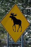 Amérique/Amérique du Nord/Canada/Quebec : Panneau routier représentant un caribou