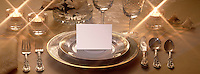 Formal place setting with blank place card.
