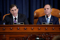 Democratic Counsel Daniel Goldman questions Marie Yovanovitch, former U.S. ambassador to Ukraine, next to United States Representative Adam Schiff (Democrat of California), Chairman, US House Permanent Select Committee on Intelligence during a House Intelligence Committee hearing as part of the impeachment inquiry into U.S. President Donald Trump on Capitol Hill in Washington, U.S., November 15, 2019. <br /> Credit: Joshua Roberts / Pool via CNP/AdMedia