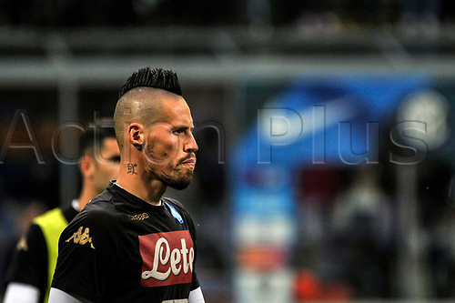April 30th 2017, San Siro Stadium, Milan, Italy;  Marek Hamsik of Napoli warms up before the Serie A football match, Inter Milan versus Napoli; Napoli won the game by a score of 0-1