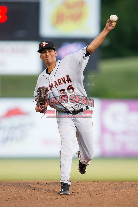 Delmarva Shorebirds starting pitcher Luis Gonzalez (36) in action against the Kannapolis Intimidators at CMC-NorthEast Stadium on July 3, 2014 in Kannapolis, North Carolina.  The Shorebirds defeated the Intimidators 6-5. (Brian Westerholt/Four Seam Images)