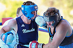 Seconds before the bout was stopped with a TKO, Nevada's Garrett Felling pummels Air Force's Laurynas Galdikas during an intercollegiate boxing match at TJ's Corral at Carson Valley Inn, in Minden, Nev., on Saturday, Sept. 13, 2014.<br /> Photo by Cathleen Allison