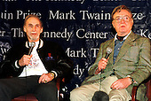 """Sid Caesar and Steve Allen speak about Jonathan Winters at a press availability during the rehearsal for the Kennedy Center """"Mark Twain Prize""""  for comedy in Washington, D.C. on October 20, 1999..Credit: Ron Sachs / CNP"""