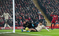 Manchester United's Andreas Pereira can't reach a pass from Aaron Wan-Bissaka<br /> <br /> Photographer Alex Dodd/CameraSport<br /> <br /> The Premier League - Liverpool v Manchester United - Sunday 19th January 2020 - Anfield - Liverpool<br /> <br /> World Copyright © 2020 CameraSport. All rights reserved. 43 Linden Ave. Countesthorpe. Leicester. England. LE8 5PG - Tel: +44 (0) 116 277 4147 - admin@camerasport.com - www.camerasport.com