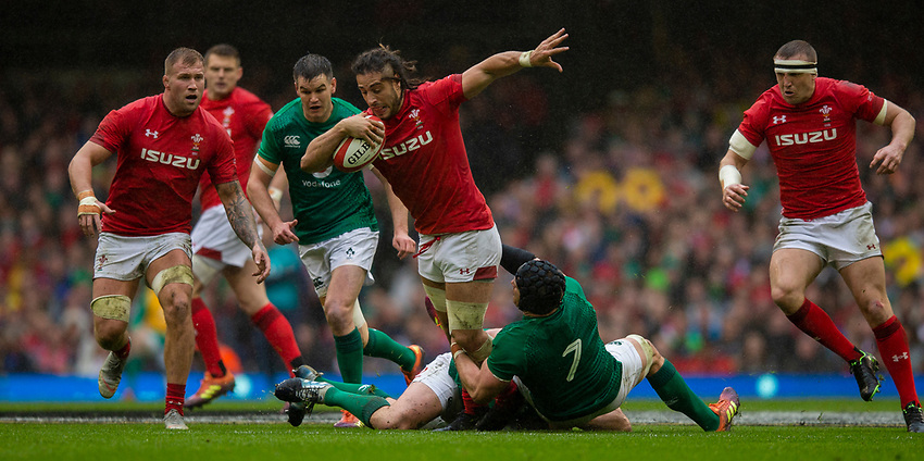Wales' Josh Navidib in action during todays match<br /> <br /> Photographer Bob Bradford/CameraSport<br /> <br /> Guinness Six Nations Championship - Wales v Ireland - Saturday 16th March 2019 - Principality Stadium - Cardiff<br /> <br /> World Copyright © 2019 CameraSport. All rights reserved. 43 Linden Ave. Countesthorpe. Leicester. England. LE8 5PG - Tel: +44 (0) 116 277 4147 - admin@camerasport.com - www.camerasport.com