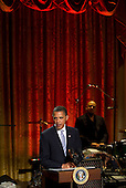 United States President Barack Obama speaks during a concert with former Beatle Paul McCarney (unseen) in the East Room of the White House in Washington, D.C., U.S., on Wednesday, June 2, 2010. Obama presented McCartney with the Gershwin Prize for Popular Song awarded by the Library of Congress..Credit: Andrew Harrer / Pool via CNP