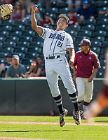 NWA Democrat-Gazette/BEN GOFF @NWABENGOFF<br /> Connor Noland, Greenwood pitcher, celebrates after defeating Benton 4-0 Saturday, May 19, 2018, during the class 6A baseball state championship at Baum Stadium.