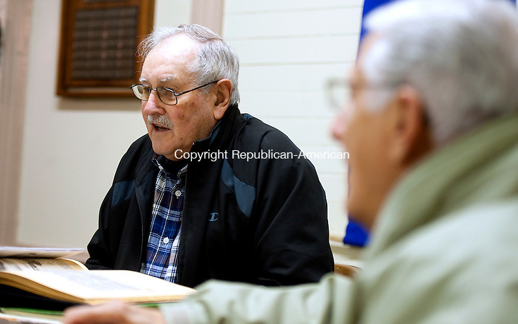 WATERBURY,  CT-111716JS08-  Mel Cooney president of the Bucks Hill Community Center, left, and board member and past president  Al Coppula, right, talk about the history, and future, of the Bucks Hill Community Center at the center on Bucks Hill Road in Waterbury. <br /> Jim Shannon Republican American