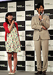 "May 31, 2016, Tokyo, Japan - Casts of Amazon Japan's original drama ""Hapimari, Happy Marriage!?"" Nana Seino (L) and Dean Fujioka smile at a promotional event for Amazon Prime Video in Tokyo on Tuesday, May 31, 2016. Amazon Japan announced they would increase original contents for Amazon' video distribution service in Japan.      (Photo by Yoshio Tsunoda/AFLO)"