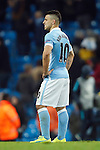 Sergio Aguero of Manchester City looks disappointed with his sides performance at full time during the UEFA Champions League match at the Etihad Stadium. Photo credit should read: Philip Oldham/Sportimage