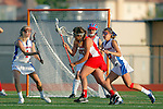 Placentia, CA 05/14/10 - Torrey Bailey (Los Alamitos # 4), Julia Denney (Redondo #11) and Melissa Hastie (Los Alamitos # 16) in action during the 2010 CIF Girls Lacrosse Championship game between Redondo Union and Los Alamitos, Los Alamitos defeated Redondo 24-7.