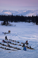 Team Parks While Another Is On Finger Lake Alaska.2004 Iditarod