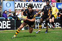 Hugo Southwell of London Wasps scores a try during the Aviva Premiership match between London Wasps and Exeter Chiefs at Adams Park on Sunday 21st April 2013 (Photo by Rob Munro)