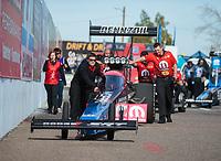 Feb 24, 2019; Chandler, AZ, USA; Crew members with NHRA top fuel driver Leah Pritchett during the Arizona Nationals at Wild Horse Pass Motorsports Park. Mandatory Credit: Mark J. Rebilas-USA TODAY Sports