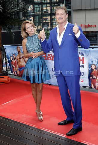 "Actor David Hasselhoff and his girlfriend Hayley Roberts during a photocall on the occassion of the film ""Baywatch"" in Berlin, Germany, 30 May 2017. The film will premiere in German cinemas on 01 June 2017. Photo: Jörg Carstensen/dpa /MediaPunch ***FOR USA ONLY***"