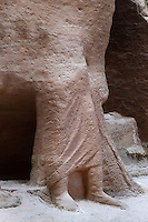 Sculpture of cameleer carved into the rock face of the Siq, the long gorge that leads into Petra, Ma'an, Jordan. The figure is 1.5x life size and was discovered in excavations in 1997-8. Petra was the capital and royal city of the Nabateans, Arabic desert nomads. Picture by Manuel Cohen