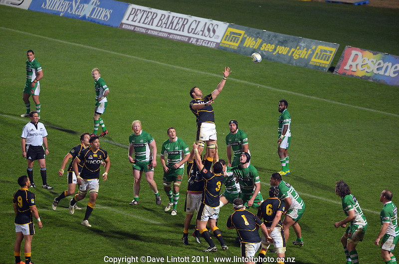 Jeremy Thrush goes up for lineout ball during the ITM Cup rugby match between Manawatu Turbos and Wellington Lions at FMG Stadium, Palmerston North, New Zealand on Friday, 25 August 2012. Photo: Dave Lintott / lintottphoto.co.nz