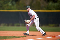 Dartmouth Big Green first baseman Michael Ketchmark (27) during a game against the St. Bonaventure Bonnies on February 25, 2017 at North Charlotte Regional Park in Port Charlotte, Florida.  St. Bonaventure defeated Dartmouth 8-7.  (Mike Janes/Four Seam Images)