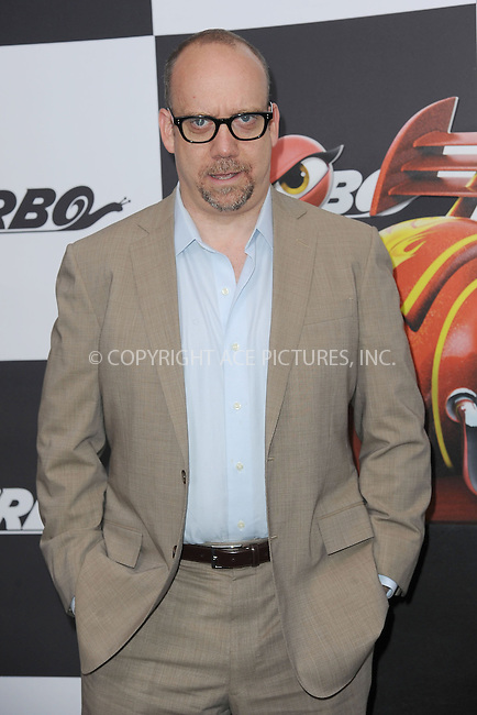WWW.ACEPIXS.COM<br /> July 9, 2013...New York City <br /> <br /> Paul Giamatti  attending the DreamWorks Animation, in Association with 20th Century Fox Premiere of TURBO<br /> at AMC Loews Lincoln Square, New York, NY on July 9, 2013.<br /> <br /> Please byline: Kristin Callahan... ACE<br /> Ace Pictures, Inc: ..tel: (212) 243 8787 or (646) 769 0430..e-mail: info@acepixs.com..web: http://www.acepixs.com