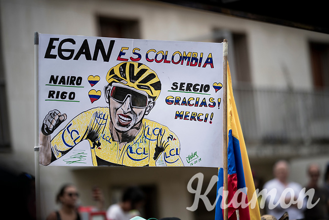 Colombian fans at the Ineos teambus at the start<br /> <br /> Stage 21: Rambouillet to Paris(128km)<br /> 106th Tour de France 2019 (2.UWT)<br /> <br /> ©kramon