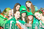 Green to be seen:Having a great time at the Listowel St Patrick's Day Parade on Tuesday were l-r Lauren Flavin, Ashley Murphy, Courtney Neill, Niamh Horan, Julieanne Fitzpatrick,  Aisling Grimes and Caoimhe O'Sullivan
