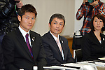 (L to R) Kentaro Asahi, Kazuhiro Koshi, Mikako Kotani, FEBRUARY 28, 2013 : Tokyo Olympic and Paralympic Games 2020 bidding committee held athletes' committee .in order to advance the bidding activities of Tokyo Olympic and Paralympic Games 2020 at Kishi memorial gymnasium, Tokyo, Japan. (Photo by Jun Tsukida/AFLO SPORT) [0003]