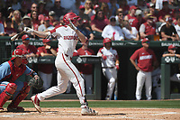 NWA Democrat-Gazette/J.T. WAMPLER Arkansas' Heston Kjerstad hits the ball against Ole Miss Monday June 10, 2019 during the NCAA Fayetteville Super Regional at Baum-Walker Stadium in Fayetteville. Arkansas won 14-1 and will advance to the College World Series in Omaha.