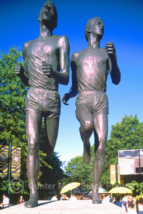 Bronze Statue of Roger Bannister and John Landy running The Miracle Mile Race in 1954, Vancouver, BC, British Columbia, Canada - (Sculptor: Jack Harman)