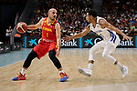 Quino Colom of Spain and Ronald Ramon of Dominican Republic during the Friendly match between Spain and Dominican Republic at WiZink Center in Madrid, Spain. August 22, 2019. (ALTERPHOTOS/A. Perez Meca)