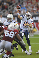 Aug 25, 2007; Glendale, AZ, USA; San Diego Chargers quarterback Philip Rivers (17) throws a pass in the second quarter against the Arizona Cardinals at University of Phoenix Stadium. San Diego defeated Arizona 33-31. Mandatory Credit: Mark J. Rebilas-US PRESSWIRE Copyright © 2007 Mark J. Rebilas