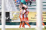 04 April 2015: Carolina's Tiyi Shipalane (RSA) (11) celebrates his goal with Wes Knight (8) and Nazmi Albadawi (5). The Carolina RailHawks hosted the Ottawa Fury FC at WakeMed Stadium in Cary, North Carolina in a North American Soccer League 2015 Spring Season match. Carolina won the game 3-1.