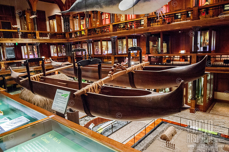 A double-hulled Hawaiian fishing canoe on display at the Bishop Museum, Honolulu, O'ahu.