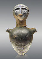 End of 7th to start of 6th century B.C Etruscan Canopo style vase used to hold funereal ashes from Chiusi, inv 94611, National Archaeological Museum Florence, Italy , against grey