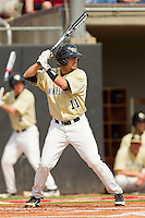 Pat Blair #11 of the Wake Forest Demon Deacons at bat against the North Carolina State Wolfpack at Doak Field at Dail Park on March 17, 2012 in Raleigh, North Carolina.  The Wolfpack defeated the Demon Deacons 6-2.  (Brian Westerholt/Four Seam Images)