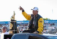 Nov 13, 2016; Pomona, CA, USA; NHRA pro stock driver Jason Line celebrates after clinching the 2016 world championship during the Auto Club Finals at Auto Club Raceway at Pomona. Mandatory Credit: Mark J. Rebilas-USA TODAY Sports