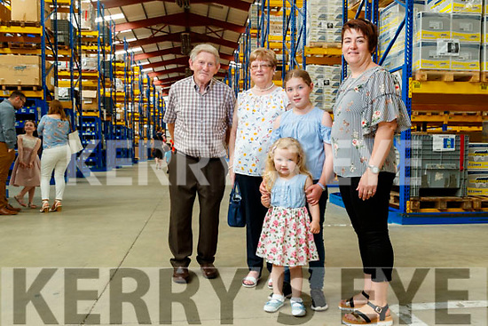 Brendan O'Keeffe, Maureen O'Keeffe, Ruby May Halpin, Jodie O'Keeffe and Elaine Halpin, pictured at the Dairymaster tour on Sunday last.