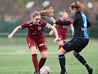 20200208 – BRUGGE, BELGIUM : Genk's Riete Loos pictured with Club Brugge's Ellen Martens during a women soccer game between Dames Club Brugge and KRC Genk Ladies on the 15 th matchday of the Belgian Superleague season 2019-2020 , the Belgian women's football  top division , saturday 08 th February 2020 at the Jan Breydelstadium – terrain 4  in Brugge  , Belgium  .  PHOTO SPORTPIX.BE | DAVID CATRY
