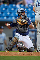 Lake County Captains catcher Li-Jen Chu (13) during the second game of a doubleheader against the West Michigan Whitecaps on August 6, 2017 at Classic Park in Eastlake, Ohio.  West Michigan defeated Lake County 9-0.  (Mike Janes/Four Seam Images)