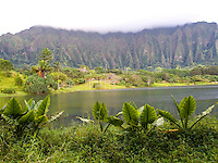The lake and lush grounds at Ho'omaluhia Botanical Gardens, with the Ko'olau Range (or Ko'olau Mountains) in the distance, Kane'ohe, Windward O'ahu.