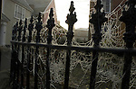 frosted cobwebs on iron railings in Eye Suffolk England